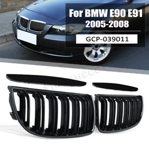 Pair For 05 08 Bmw E90 E91 Front Kidney Grille Double Line Sport Grills Us Stock