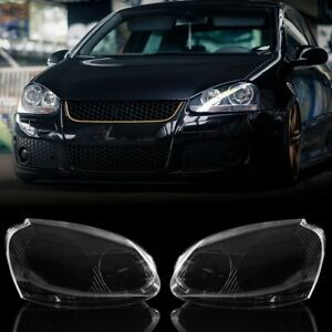 Front Clear Headlight Lens Cover Lh rh Side Plastic For Vw Gti Jetta Rabbit R32