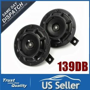 Universal 139db Loud Blast Tone Grille Mount Electric Compact Horn Black 12v Us