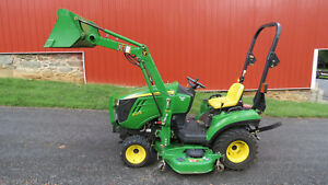2011 John Deere 1023e 4x4 Compact Utility Tractor W Loader Mower Hydro 215 Hr