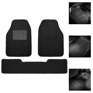 3pcs Carpet Floor Mats For Auto Car Suv Van Universal Fitment Black