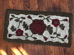Hand Made Primitive Hooked Rug Runner Rich Red Peony