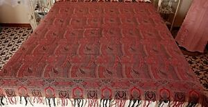 Minty Victorian Paisley Piano Shawl Or Table Cover
