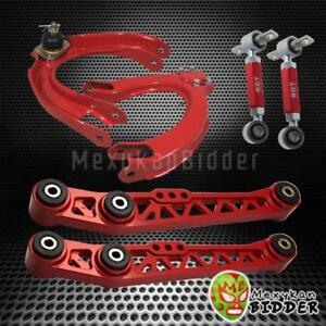 Red Front Rear Camber Kit Rear Lower Control Arm Kit Honda Civic Crx 88 91