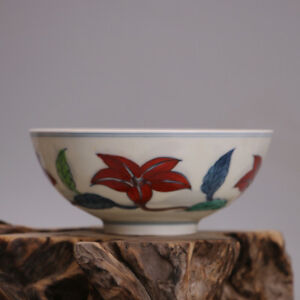 Chinese Old Marked Doucai Colored Morning Glory Pattern Porcelain Bowl