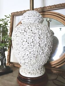 Antique Vintage Porcelain Blanc De Chine Table Lamp Applied Flowers