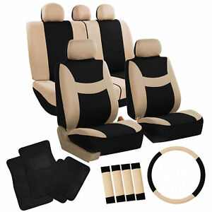 Seat Cover Full Set Beige W Steering Cover Belt Pads Black Carpet Mats