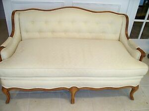 Ethan Allen Upholstered Club Loveseat Exposed Mahogany Arms Feet