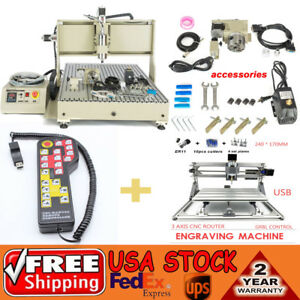 2 2kw 4axis Cnc Router 6090 Engraver Mill Drill Machine mini 2417 Controller