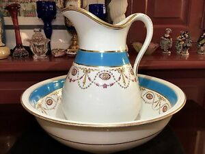 Minton Turquoise Pitcher W Wash Basin Bowl A B Daniell Son 46 Wigmore London
