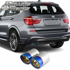 Rg Bmw X3 Exhaust Tips Muffler Pipes For F25 28i 35i 2009 17 Burnt Blue X 2