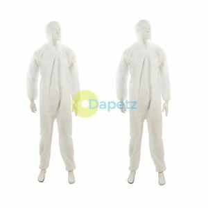 Disposable Coveralls Overalls Boilersuit Hood Painters Protective Suit white