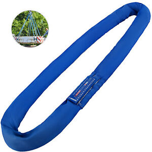 19 7ft 17600lbs Endless Round Lifting Sling Blue Polyester Steel