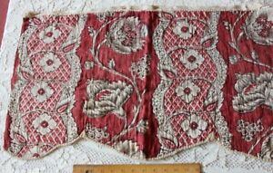 Antique C1770 French Turkey Red Toile De Jouy Hand Blocked Indienne Fabric 16x29