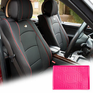 Car Leather Seat Cushion Covers Front Bucket Black W Dash Mat For Auto