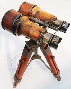 Nautical Antique Marin Vintage Binocular With Tripod Wooden Stand Desk Decor