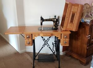Antique S M Co White 910562 Cast Iron Treadle Sewing Machine 5 Drawer 1893