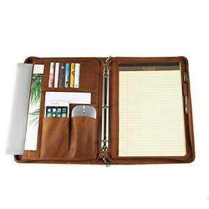 Handmade Leather 3 Ring Binder Portfolio Vintage Padfolio Zippered Closure Gift