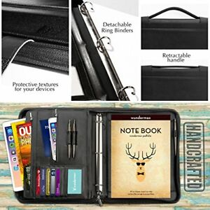 Portfolio Binder A Zippered Padfolio Handle 3 Ring Binder Document Organizer