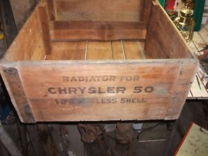 Antique Primitive Vintage Wooden Shipping Box Crate 27 Chrysler 50 Radiator