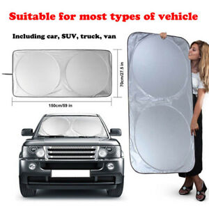 New Foldable Large Sun Shade Truck Van Car Windshield Visor Block Cover 150x70cm