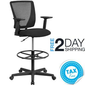 Tall Desk Chair Office Counter Height Hight Desk With Arms Wheels Back Support