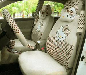 2019 New Hello Kitty Car Seat Covers Steering Wheel Cover Head Restraint 18pcs