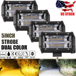 4pcs 960w 5inch Led Work Lights Flush Mount White Amber Strobe Dual Color Flash