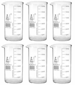 6 Pack Beakers 600ml Tall Form White Grad Borosilicate Glass Eisco Labs