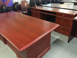 Executive Set Desk Credenza By Jofco In Cherry Color Wood