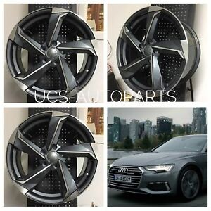 18 Wheels Rims Fits Vw Volkswagen Golf Gti Jetta Gli Passat Gunmetal Rs3 Style