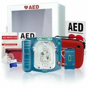 New Philips Heartstart Onsite Aed M5066a Cabinet Value Package 5 Year Warranty