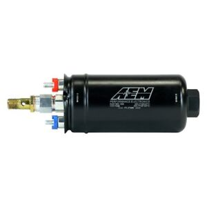 Aem 400lph High Pressure Inline Fuel Pump M18x1 5 Female Inlet To M12x1 5 Mal