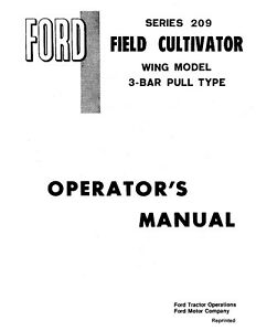 New Holland Ford Se4311 209 Field Cultivator Wing Mdl 3 Operators Manual