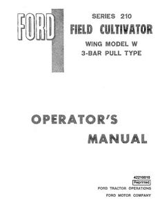 New Holland Ford Se4353 210 Field Cultivator 1984 Operators Manual