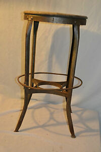 Vtg Antique Artdeco Industrial Stool Steampunk Oak Steel Drafting Table Chair