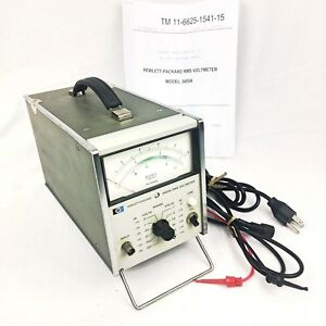 Vintage Hp Hewlett Packard 3400a Rms Voltmeter Tested With Original Lead s