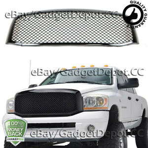 For 2006 2007 2008 Dodge Ram 1500 2500 3500 Mesh Upper Hood Grille Glossy Black