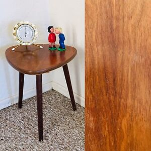 Tripod Mid Century Plant Stand Table Display Side End Table Brown Vintage Wood