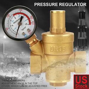 Dn15 Brass Adjustable 1 2 Water Pressure Regulator Reducer With Gauge Meter