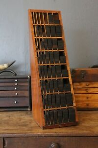 Antique Printers Cabinet Furniture Letterpress Wood Block Box Cubby Industrial
