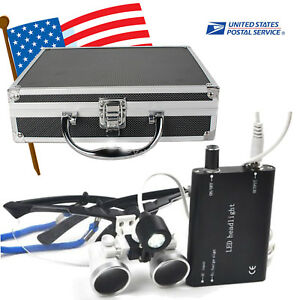 Dental Loupes 3 5x420 Surgical Binocular Led Head Light Lamp Case Box Equipment