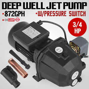 3 4 Hp Shallow Or Deep Well Jet Pump W pressure Switch Water 43 M Convertible