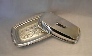 Silver Plated Covered Butter Dish W Glass Liner Fb Rogers Company 1996
