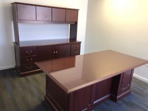 3 Piece Set Desk Credenza Hutch By Hon Office Furniture In Mahogany Laminate