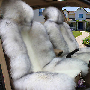 Pair Of White With Black Tips Sheepskin Plush Car Seat Covers