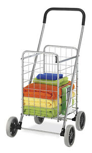 Whitmor Rolling Utility Cart Silver Black Portable Metal New Free Shipping