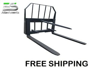 Es Pallet Fork Bale Spear Combo Quick Attach Skid Steer Loader Free Shipping