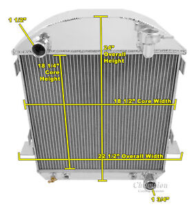3 Row Ace Champion Radiator For 1917 1927 Ford T Bucket Chevy Configuration