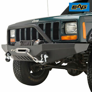 84 01 Jeep Cherokee Xj Front Winch Bumper Black Rock Crawle With D Ring